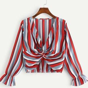 Ruffle Sleeved Striped Twist Blouse Crop Top